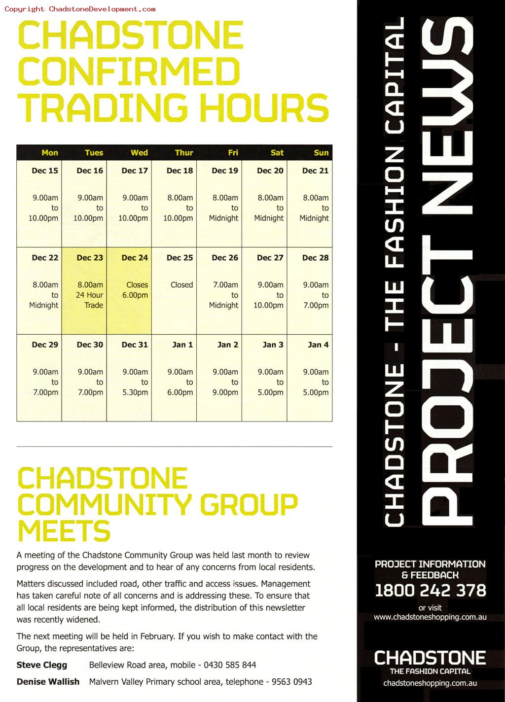 2008 Chadstone Christmas Trading hours - Chadstone Development Discussions