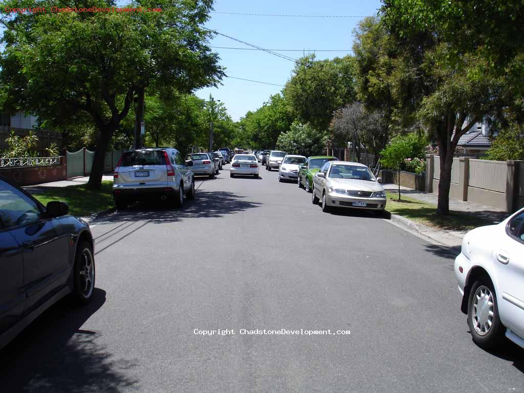 Cars parked illegally on Webster St on Boxing Day 2009 - Chadstone Development Discussions