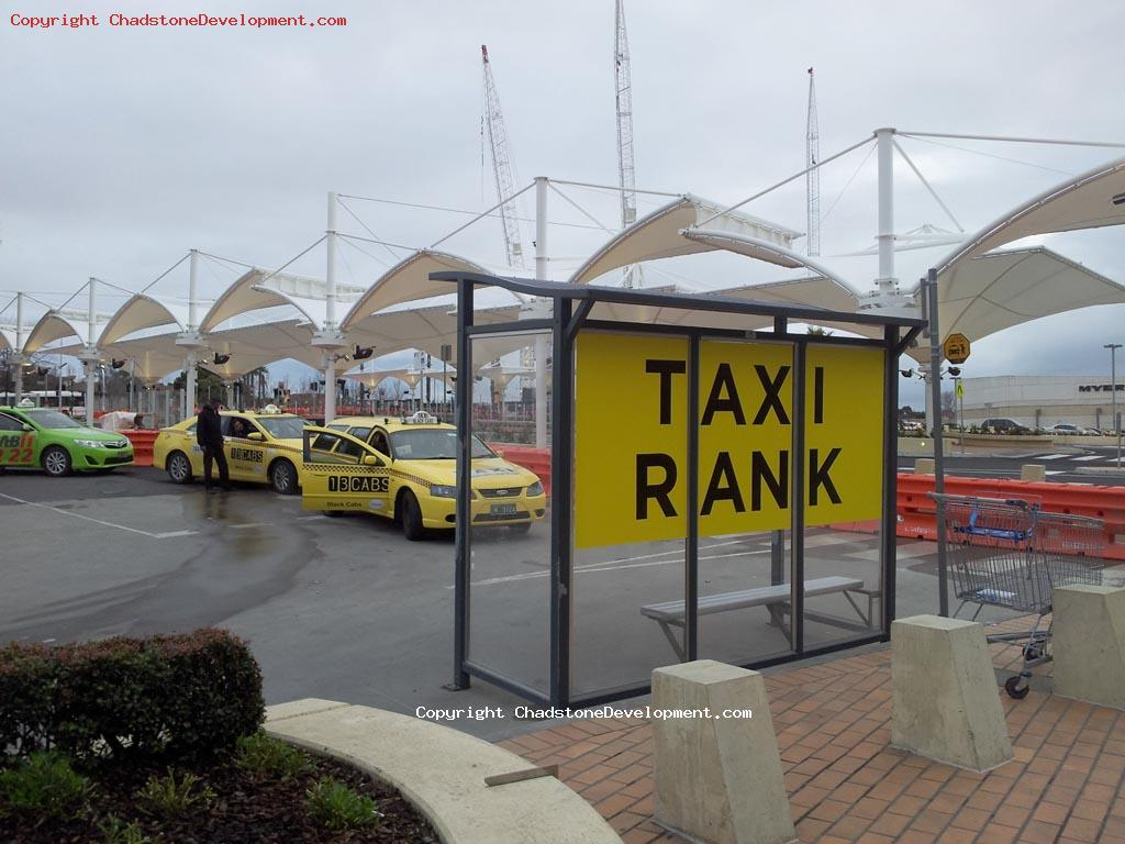 Temporary taxi rank next to new bus interchange - Chadstone Development Discussions