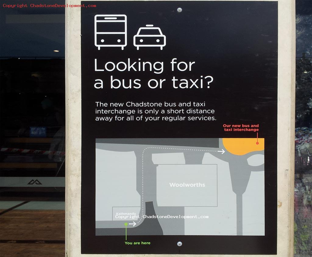 Informational sign - New bus stop location at Chadstone - Chadstone Development Discussions