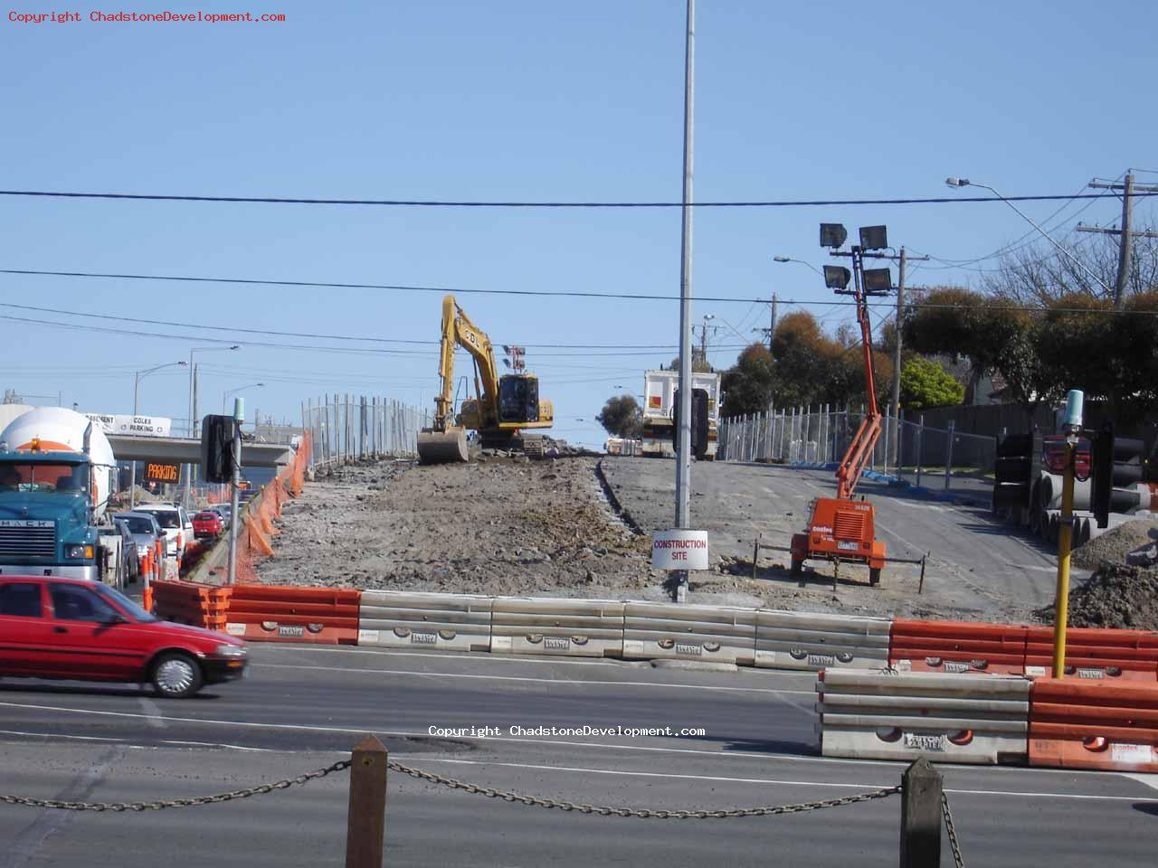 Half of the old Middle rd bitumen has been dug up - Chadstone Development Discussions
