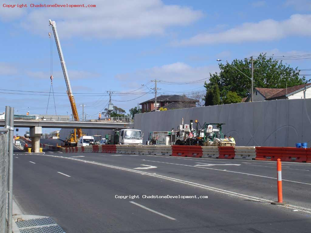 Crane lifting side walls onto Webster Street Bridge - Chadstone Development Discussions