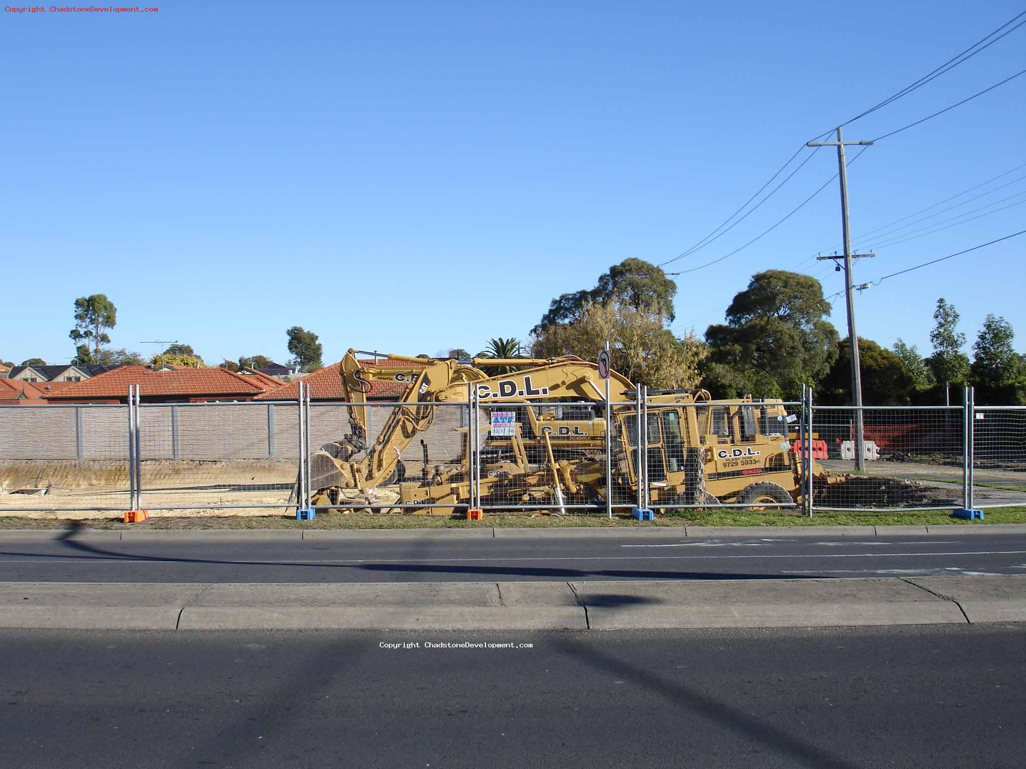 View of earth moving equipment situated near Capon St - Chadstone Development Discussions