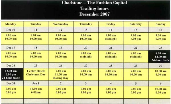 2007 Chadstone Christmas Trading hours (excerpt) - Chadstone Development Discussions