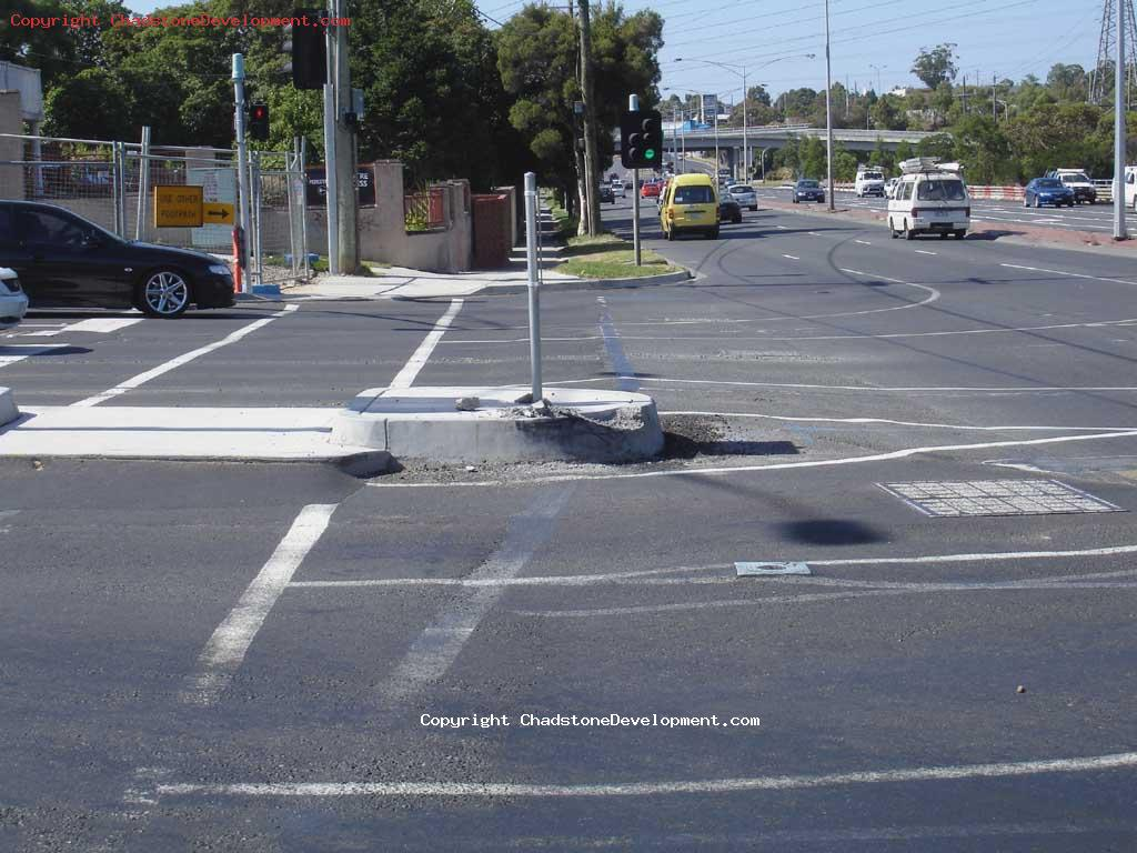 Crumbled end of median/kerb at Middle Rd - Chadstone Development Discussions