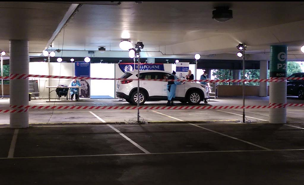 Pop-up COVID testing clinic at Chadstone Shopping carpark